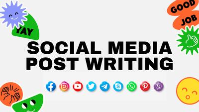 Write creative 10 social media posts