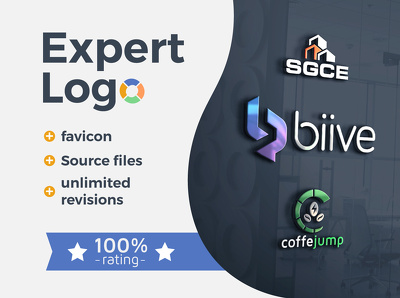 Expert and bold logo. 100% rating + unlimited revisions, favicon