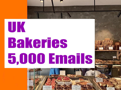 UK Bakeries Email list, Email database, 5K Email Addresses