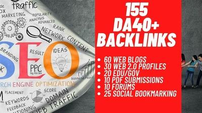 Dofollow 155 DA40+ Backlinks to Rank YouTube video or website