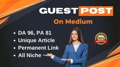 Write & Publish guest post on Medium.com DA 96 PA 81