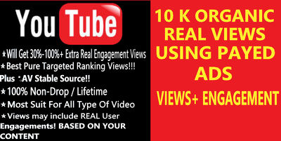 Promote your YouTube video to increase 10k real views by ADS
