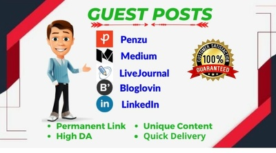 Write and publish guest post on da 98 to 65 google index blog