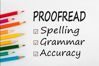 Professionally proofread English text up to 1500 words
