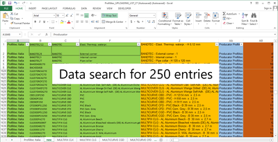 Do data search for 250 entries