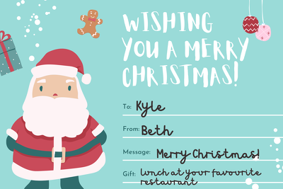 PERSONALISED CHRISTMAS VOUCHER