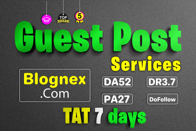 Guest post on blognex website with dofollow link DA52 & PA27