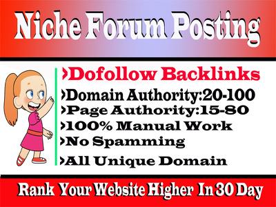 Do 10 Niche Relevant Forum Posting High DA Backlinks