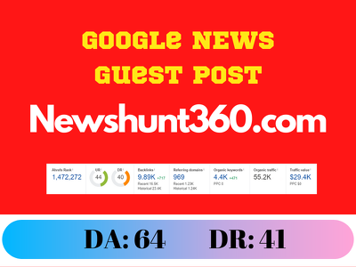 Guest Post on newshunt360.com - newshunt360 DR:41 DA:64