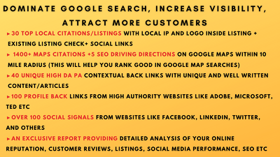 Dominate local market, increase visibility, attract customers