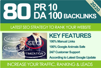 Provide 80 UNIQUE PR10 SEO backIinks on DA100 & TF100 websites