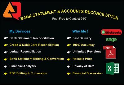 Do bank reconciliation , Convert Bank Statement, Edit & Modify