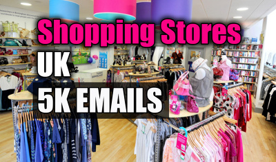 Shopping stores email list, email database, 5K email addresses