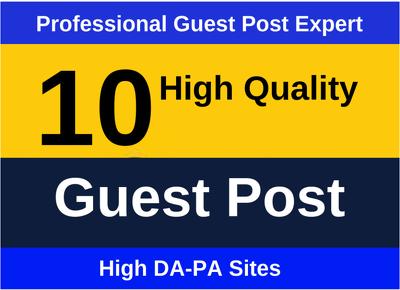Publish High DA PA 10 guest posts DA80+ all niche accepted