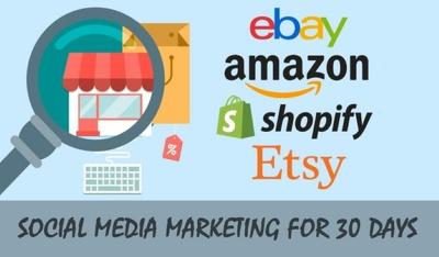 Social media ecommerce marketing for ebay, amazon, etsy, shopify