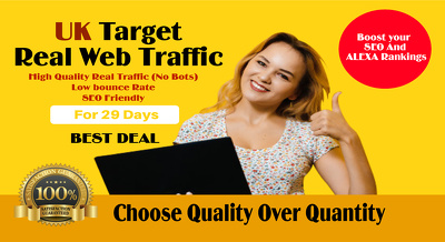 Drive UK real traffic to your website for 1 month