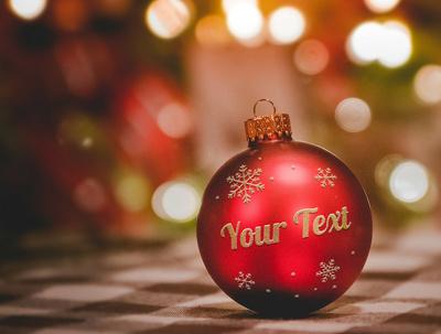 Put Your name onto Christmas ball and small message on card