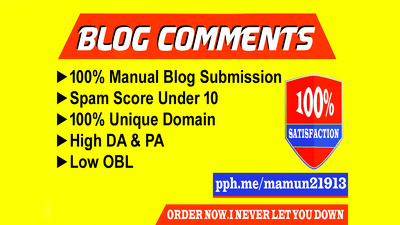 Build 50 dofollow blog commenting on high da blogs