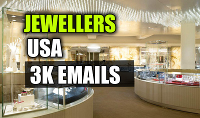 Jewelers email list, email database, 3000 email addresses