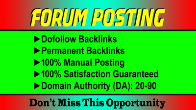 Provide 50 dofollow forum posting backlinks on high da pa blogs