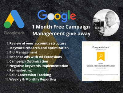 I will setup and manage your google ads campaigns+$120 Ad Credit