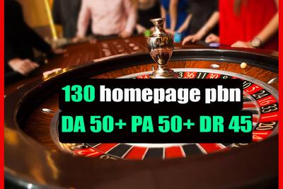 Build 130 pbn from DA50+ sites for gambling,poker,casino betting