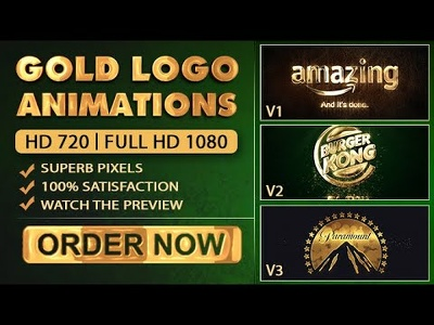Make these gold video intro logo animations - 50% Discount