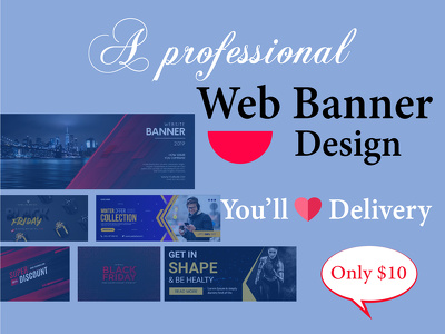 Design web banner, google banner ads and social media cover