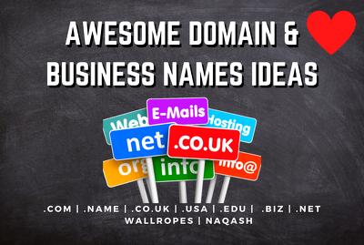 Brainstorm unique business names for business, website, startup
