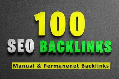 Do manually 100 SEO backlinks, high da, and permanent links
