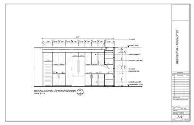Do Kitchen sectional elevation drawings in AutoCAD.