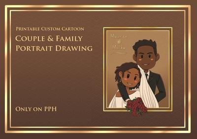 Draw printable custom cartoon couple and family portrait