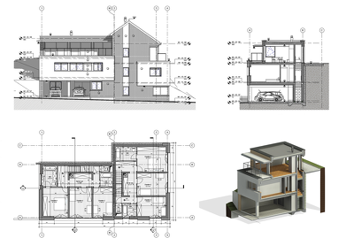 Draw floor plans, elevations, sections, and details