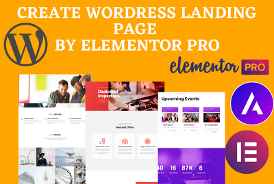 Create mordern landing page design by elementor pro, visual comp