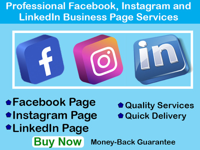 Setup quickly 1 Facebook, Instagram or LinkedIn business page