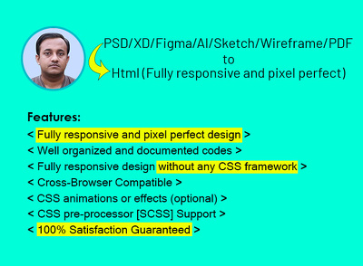 Convert PSD to responsive html, xd to html, figma to html