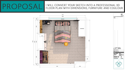 Create a professional 2d Floor Plan with dimensions an furniture