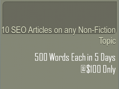 Write 10 articles (500 words each)