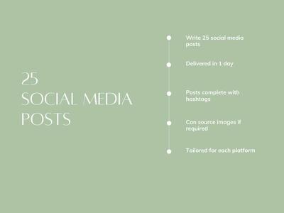 Write 25 social media posts