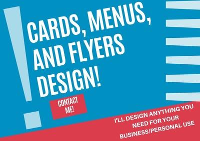 Design cards, menus or flyers