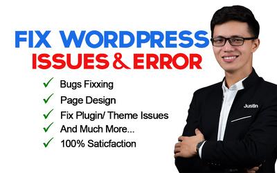 I will fix any  wordpress issues and woocommerce errors
