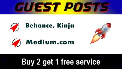 Write and publish 3 guest posts on behance,medium, kinja