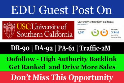 Guest Post on University of Southern California usc.edu DA 92