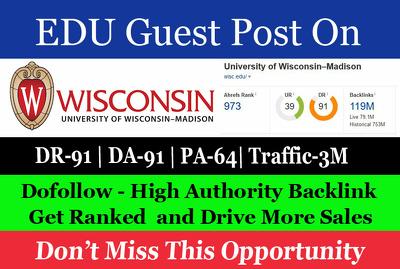 Guest Post on University of Wisconsin System wisc.edu DA 91