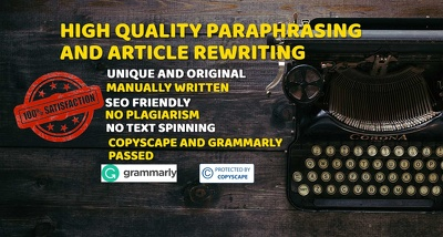 Paraphrase/Rewrite up to 700 words to make them plagiarism free