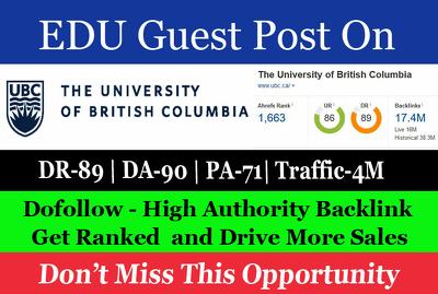 Guest Post on The University of British Columbia ubc.ca DA 91