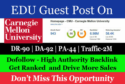 Guest Post on Carnegie Mellon University cmu.edu DA 92 Dofollow