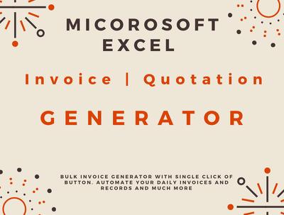Build auto Invoice, Quotation generator in Excel