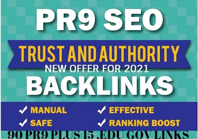 90 PR9 and 15 .EDU .GOV  Backlinks  Authority Domains For SEO