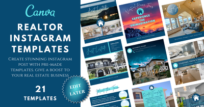 Get editable CANVA Instagram Templates for Realtors - Pre Made